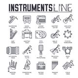 Variété d'instruments de musique et d'équipement différents de jouer Ensemble d'icône Illustration moderne de fond de vecteur de  Photos stock
