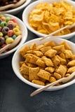 Variété de céréales froides dans des cuvettes blanches avec des cuillères images stock