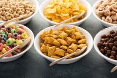 Variété de céréales froides dans des cuvettes blanches avec des cuillères photo stock