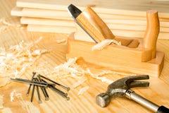 Variété de Carpentery d'outils de boisage Photographie stock libre de droits
