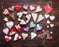 Variété de coeurs faits main Image stock