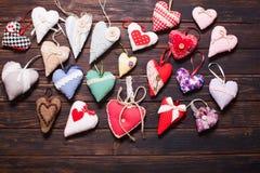 Variété de coeurs faits main Images stock
