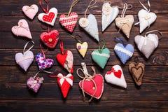 Variété de coeurs faits main Photos libres de droits