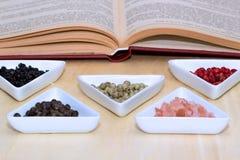 Variété de grains de poivre et de sel Photos libres de droits