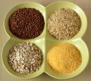 Variété de grains et de graines sains dans la cuvette Photographie stock libre de droits