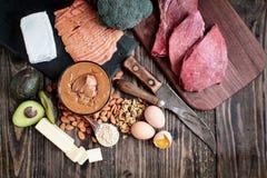 Variété de nourritures de régime de cétonique images libres de droits