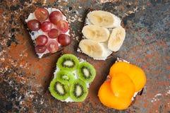 Variété de pains grillés de pain de seigle avec des fruits Photo stock