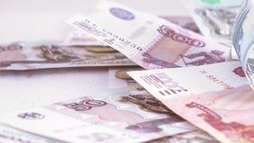 Variété de roubles russes de factures banque de vidéos