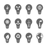Variété de source d'énergie électrique avec les ampoules Image libre de droits