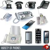 Variété de téléphones Image stock