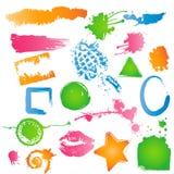 Variété de textures sales colorées, de balais, etc. Images libres de droits