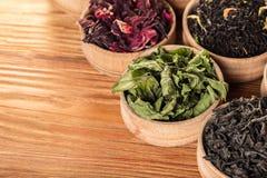 Variété de thés secs Images libres de droits