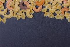 Variété de types de fond italien de pâtes Image stock
