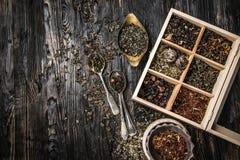 Variété des thés, mélanges dans le plat de cuivre, topview Photographie stock libre de droits