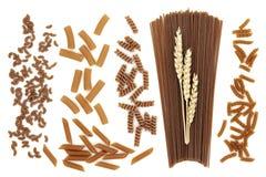 Variétés de pâtes de blé entier Image libre de droits