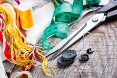 Vari accessori di cucito Fotografia Stock