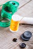 Vari accessori di cucito Fotografia Stock Libera da Diritti
