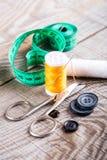 Vari accessori di cucito Fotografie Stock