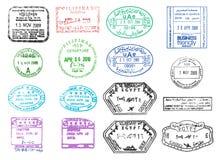 Vari bolli del passaporto di vettore Fotografia Stock Libera da Diritti