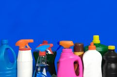 Vari bottiglia del detersivo, Fotografia Stock