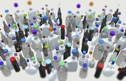 Vari bottiglie e contenitori con i cappucci Immagini Stock Libere da Diritti
