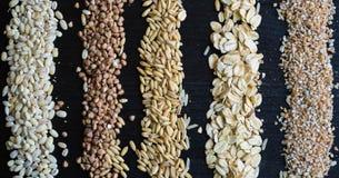 Vari chicchi e fondo dei cereali Immagini Stock Libere da Diritti