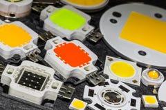 Vari chip potenti di colore 10W LED ed alcuni più piccoli chip Fotografia Stock Libera da Diritti