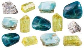 Vari cristalli, rocce e pietre preziose dell'apatite Immagine Stock Libera da Diritti