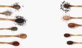Vari cucchiai delle spezie sulla tavola bianca Vista superiore con lo spazio della copia fotografia stock libera da diritti