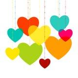 Vari cuori multicolori. Magenta, ciano, giallo Fotografie Stock