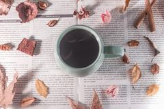 Vari foglie e fiori asciutti intorno ad una tazza di caffè caldo, decorazione di autunno immagine stock libera da diritti