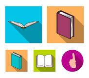 Vari generi di libri I libri hanno messo le icone della raccolta nel web piano dell'illustrazione delle azione di simbolo di vett Immagini Stock