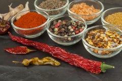 Vari generi di spezie in ciotole di vetro su un fondo dell'ardesia Immagine Stock Libera da Diritti