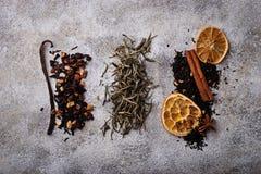 Vari generi di tè asciutto Immagini Stock Libere da Diritti