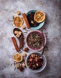 Vari generi di tè asciutto Fotografia Stock