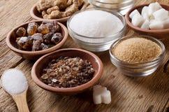 Vari generi di zucchero immagine stock