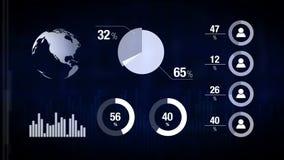 Vari grafici animati di Infographics come fondo di tecnologia, di scienza, di affari, di finanza o di economia illustrazione di stock