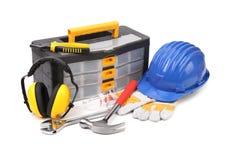Vari lavoratore ed attrezzatura di sicurezza. Fotografie Stock Libere da Diritti