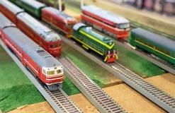 Vari modelli sovietici del treno Immagini Stock Libere da Diritti