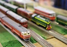 Vari modelli sovietici del treno Fotografie Stock