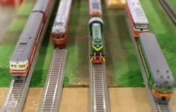 Vari modelli sovietici del treno Immagini Stock