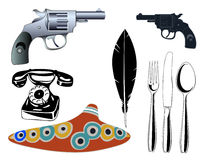 Vari oggetti - elementi di disegno Fotografia Stock Libera da Diritti