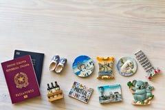 Vari passaporti e ricordo Immagine Stock
