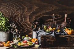 Vari pomodori variopinti dal giardino, dall'insalata in piatto, dall'olio di olive, dalla mozzarella e dagli strumenti della cuci immagini stock libere da diritti