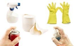 Vari prodotti e pulizia di igiene Immagini Stock Libere da Diritti