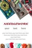 Vari rifornimenti di cucito con il posto per il vostro testo Fotografie Stock Libere da Diritti