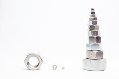 Vari rivestono di ferro i bulloni Fotografia Stock