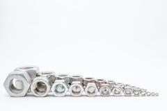 Vari rivestono di ferro i bulloni Fotografia Stock Libera da Diritti