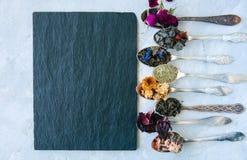 Vari sapori di tè Karkade di matcha del tè del fiore del tè verde nella s Fotografia Stock Libera da Diritti