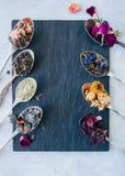 Vari sapori di tè Karkade di matcha del tè del fiore del tè verde nella s Fotografia Stock